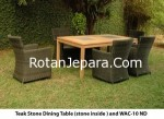 Teak stone dining table stone inside