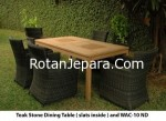 Teak Stone Dining Table Slats Inside