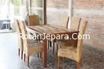 Kursi makan set anyaman rotan alam untuk cafe