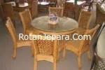 Kursi makan set rotan alam untuk hotel