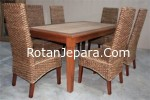 Rattan dining chair set hotel
