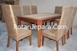 Rattan dining chair set villa
