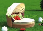 Comfortable round rattan daybed with canopy