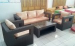 sofa villa ruang tamu set furniture rotan