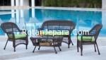 Kursi tamu rotan untuk teras kolam renang hotel