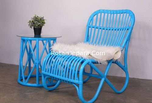 Rattan Blue Chairs Apartemens and hotels