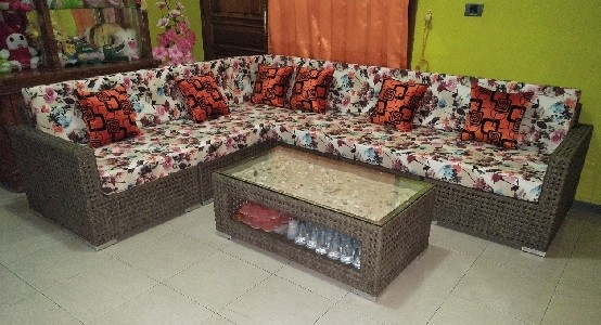 Sofa Living Set Flowers Wicker Synthetic