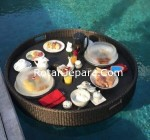 Synthetic wicker floating tray for the United States hotel pool