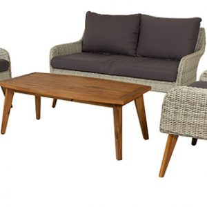 ROJER LIVING WICKER TEAK GARDEN FURNITURE