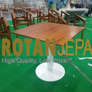 Covid 19 Teak Dining Iron Furniture