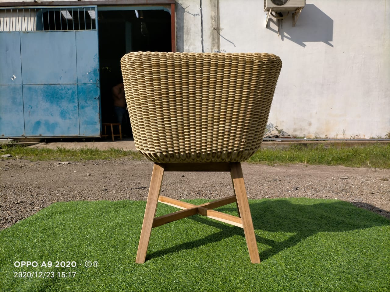 Wicker Arm Chair woven synthetic outdoor
